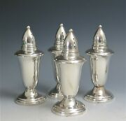 Lot 4 Crown Sterling Silver Weighted Salt And Pepper Shakers