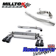 Milltek Golf R Mk7 3 Exhaust System Valved Non Res And Decat Downpipe Black Gt100