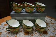 12 Cups Vernonware Hand Painted Tam Oand039shanter Green Plaid Dinnerware