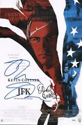 Oliver Stone And Kevin Costner +1 Authentic Hand-signed Jfk 11x17 Photo Jsa Coa