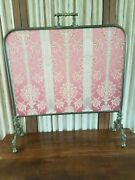 19th C. Antique Victorian Carved Fire Screen With Silk Embroidered Crane Panel.