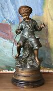 Charles Anfrie 1833-1905 Sculpture Boy With Angel And Fish Antique 20 7/8in
