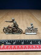 Vintage Lead Toy Soldier On Motorcycle Toys Lot Of 2