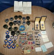 Vintage Original Authentic Air Corp Ww2 Lot Of Badges, Pins, Medals, Ect
