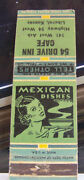 Rare Vintage Matchbook Cover V1 Liberal Kansas Mexican Dishes 54 Drive Inn Cafe
