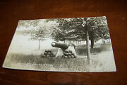 Rare Vintage Rppc Real Photo Postcard A3 Canon Monument Park Shelby Michigan