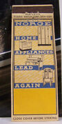 Vintage Matchbook Cover P1 Norge Home Appliances Lead Again New York Stove Fridg