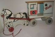 Old Wood And Tin Rich Toy Horse Drawn City Dairy Milk Wagon Pull Toy Clinton Iowa