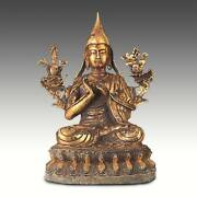 Sculpture Figure Of Tsongkhapa Gilded Bronze China Buddhism 19th C.