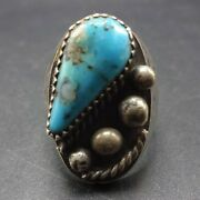 Vintage Navajo Sterling Silver Turquoise With Quartz Inclusion Signet Ring 9.5
