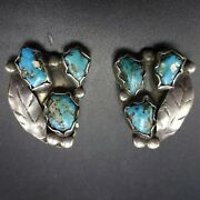 Vintage 1940s Navajo Sterling Silver Turquoise Clip-on Earrings Quartz Inclusion