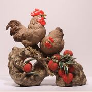 Folk China Ceramics Color Porcelain Feng Shui 12 Zodiac Year Rooster Cock Statue