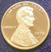 1978 S Proof Penny Bu Gem Brilliant Uncirculated Red Cameo Low 3.1 Mill Scarce
