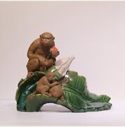 Chinese Ceramics Color Porcelain Feng Shui 12 Zodiac Year Monkey Ornament Statue