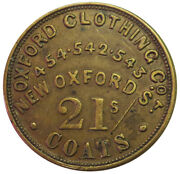 1880and039s Great Britain Oxford Clothing Co. 12 Shillings Unofficial Farthing Token