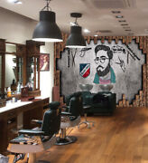 3d Vintage Wall P438 Barber Shop Wallpaper Mural Self-adhesive Removable Amy