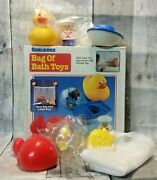 Shelcore Mesh Bag Of Bath Toys Baby Duck Fish Whale Boat Sailor Ball 1993 Vntg