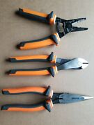 Klein Tools Electricianand039s Insulated Wire Strippersside Cutters And Long Nose...