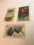 Vintage 1911 Postcards Christmas And New Years Lot Of 3