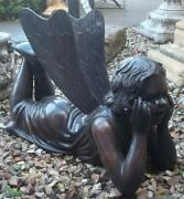 Bronze Fountain Laying Fairy / Pixie Girl - Suitable For Garden Or Indoor Use