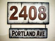 Rustic House Address Sign, Bronze Numbers, Aged Wood Plaque, Hanging Street Name