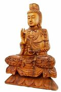Guanyin Goddess Of Compassion Mercy Statue Wood Carving Sculpture Bali Art 25