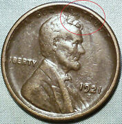 1921 S Error Wheat Penny Xf+ Choice Extra Fine 15 Mill Planchet Tear Stamp-over