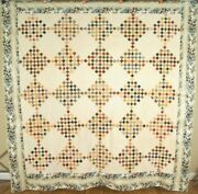 1830and039s Postage Stamp Antique Quilt Top Very Early Fabrics And Chintz Border