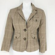 American Eagle Size S Womens Tan And Pink Spring Vntg 3/4 Length Sleeve Blazer New