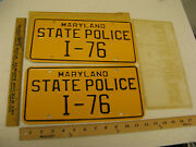 1960and039s 1970and039s 1980 Maryland Md State Police Trooper Cop License Plate Pair I-76