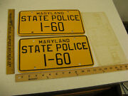 1960and039s 1970and039s 1980 Maryland Md State Police Trooper Cop License Plate Pair I-60
