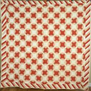 Amazing 1870and039s Pineapple Windmill Blades Log Cabin Antique Quilt Piano Key Bdr.