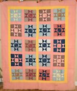 Beautiful Vintage 20and039s Amish Variable Stars Antique Quilt Signatures