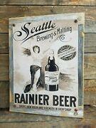 Rainier Seattle Beer Poster Ad Reproduction Metal Sign Reclaimed Wood Frame
