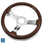 1964-1988 Gm Cars Aftermarket Steering Wheel Wood Wheel With Chrome Spokes 14