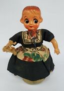Vintage Wind-up Tin Dancing Mary Celluloid Girl Doll Old Toy Japan Japanese