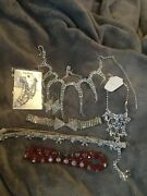 Rhinestone Jeweled Choker Necklace Earrings Headband Anklet With Toe Ring