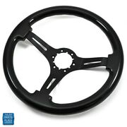 1964-1988 Chevy Cars Steering Wheel Black Wood With Black Anodized Spokes 14