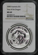 2000 Australia 1 Silver Year Of The Dragon Ngc Ms-69