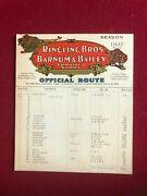 1937, Ringling Bros And Barnum And Bailey Circus Route Card Scarce / Vintage