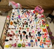 Mixed Figures Toys Lot Accessories And Hotwheels , Ponies, Playmobile ,lps Unbrand