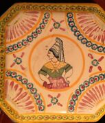 French Antique Faience Trivet Quimper Normandy Pottery 8-sides Signed Lisieux