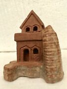 Handcarved Wooden Castle Doll-house Toy Architecture Figure Vintage 3d
