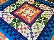 Christmas Handmade Tropical Quilt With Pinwheels-wedding Gift-bright Quilt