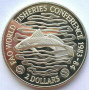 Liberia 1983 Fao Fisheries Conference 2 Dollars Piedfort Silver Coinproof