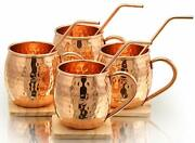 Pure Copper Moscow Mule Mugs And Bent Copper Straws 4 Pcs Set Serving Glasses