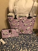 Disney Dooney And Bourke Epcot Food And Wine 2019 Purple Tote Wallet Wristlet Nwt