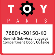 76801-30150-k0 Toyota Garnish Sub-assy Luggage Compartment Door Outside 768013