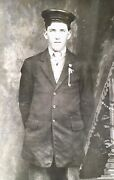 Vintage 1910 Rppc Photo A Handsome Young Stands Cap Hat Post Card