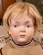 """C1910 19"""" Antique German Rare Closed Mouth 183 526 Kley Hahn Character Doll"""